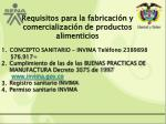 requisitos para la fabricaci n y comercializaci n de productos alimenticios
