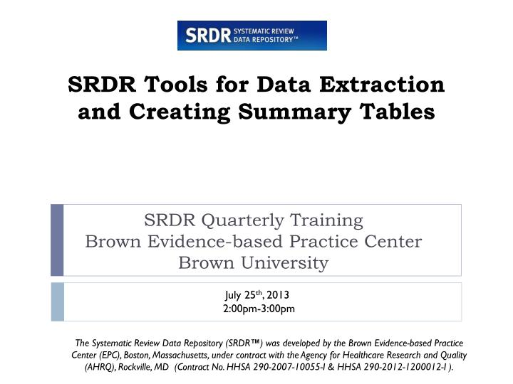 srdr tools for data extraction and creating summary tables n.