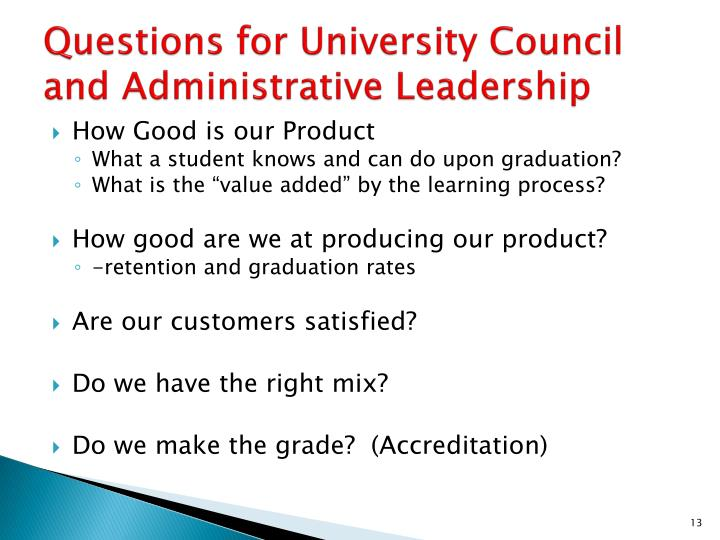 Questions for University Council and Administrative Leadership