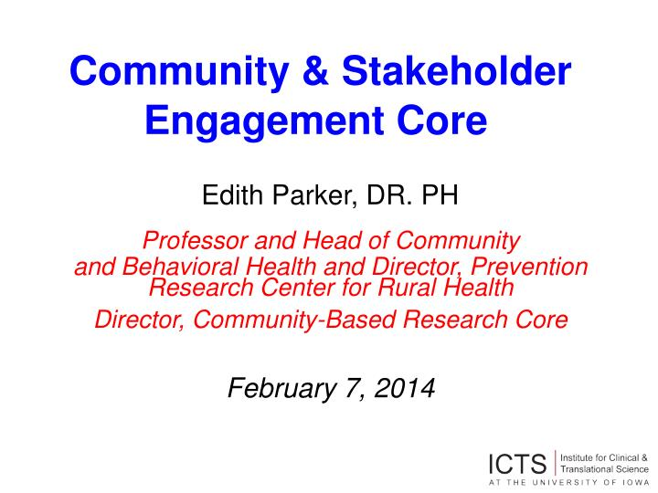community stakeholder engagement core n.