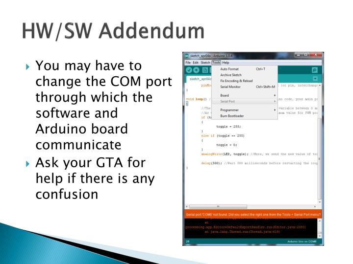 HW/SW Addendum