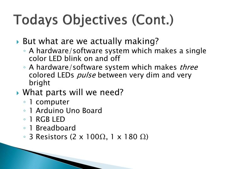Todays Objectives (Cont.)
