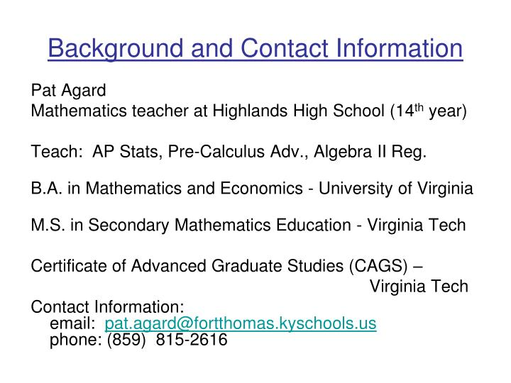 background and contact information n.