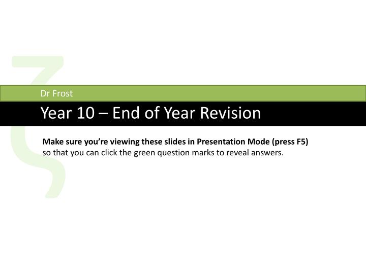 science end of year revision