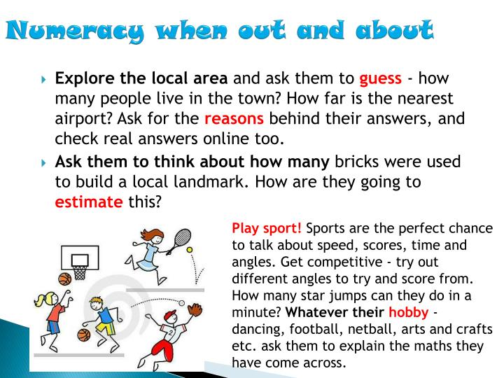 Numeracy when out and about