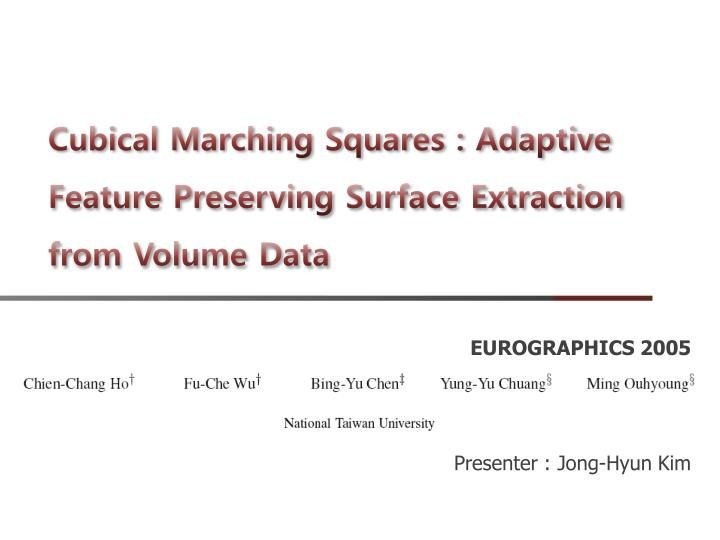 cubical marching squares adaptive feature preserving surface extraction from volume data n.