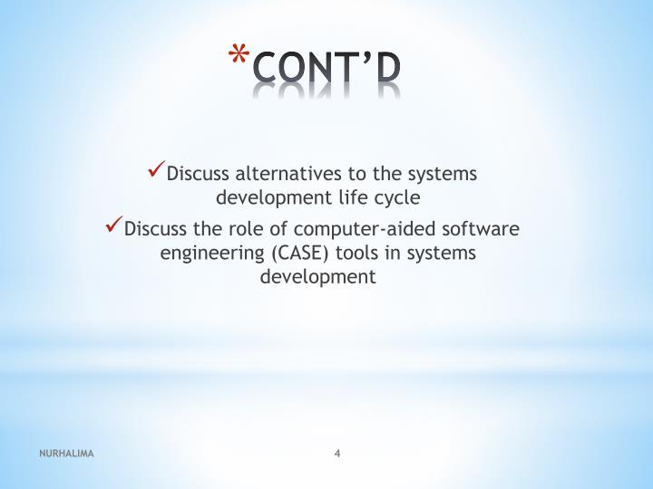 Discuss alternatives to the systems development life cycle