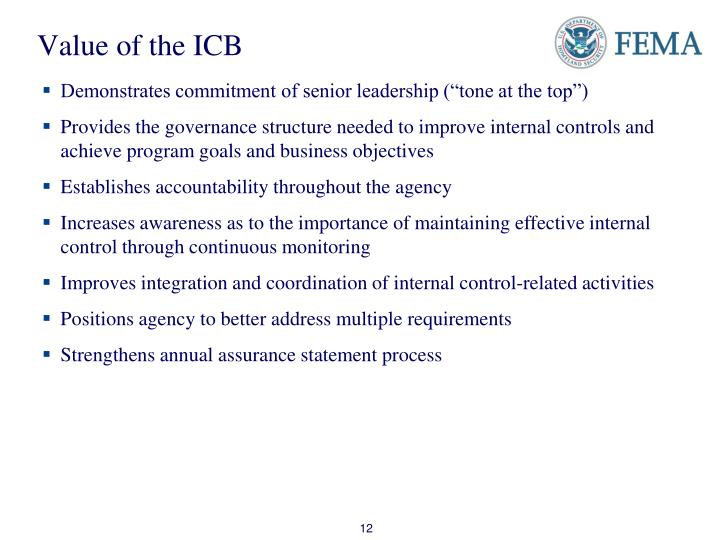 Value of the ICB