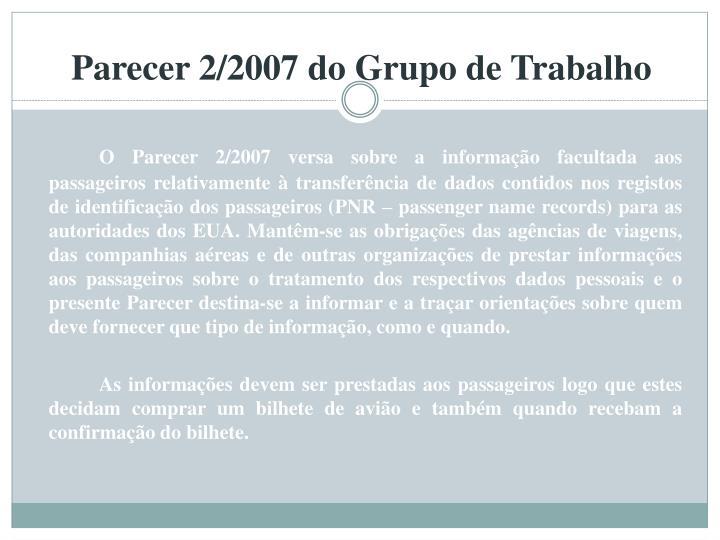 Parecer 2/2007 do Grupo de Trabalho