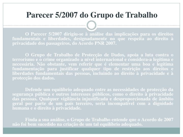 Parecer 5/2007 do Grupo de Trabalho