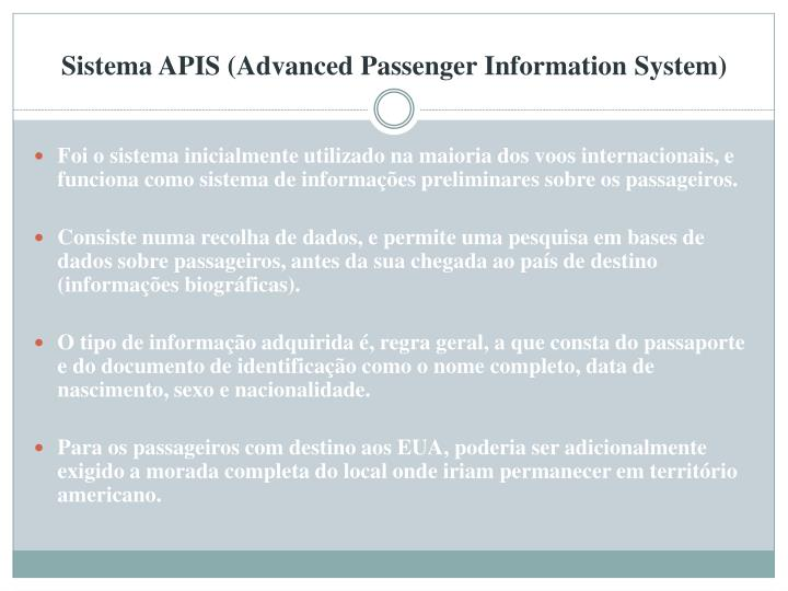 Sistema APIS (Advanced Passenger Information System)