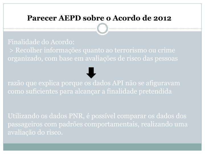 Parecer AEPD sobre o Acordo de 2012