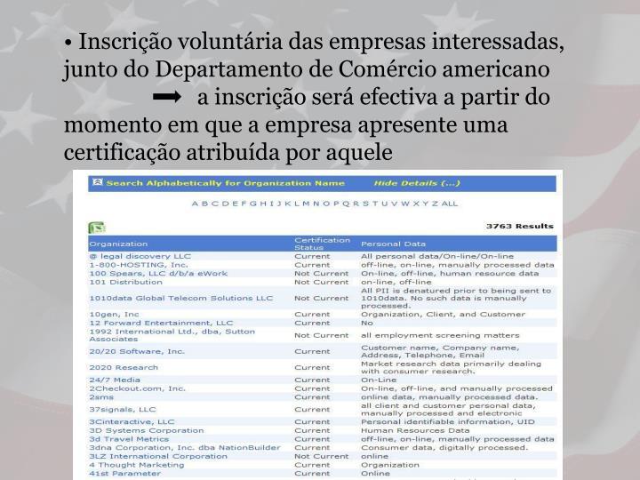 • Inscrição voluntária das empresas interessadas, junto do Departamento de Comércio americano