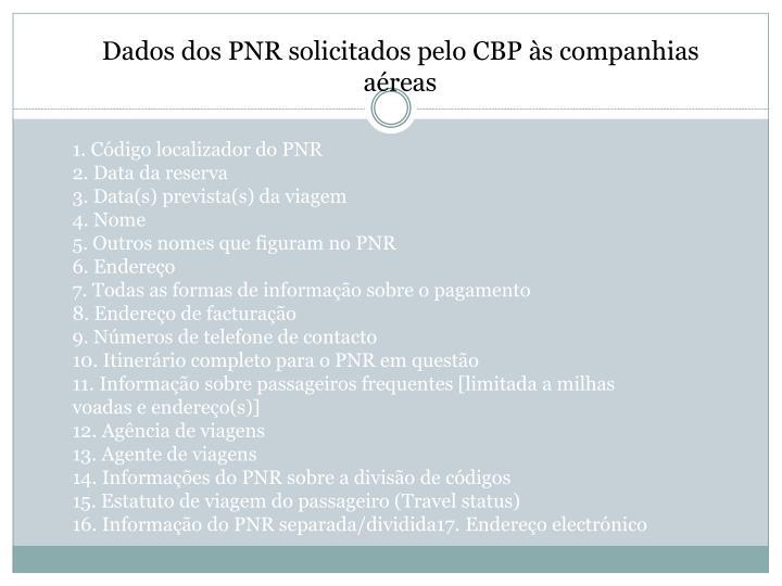 Dados dos PNR solicitados pelo CBP às companhias aéreas