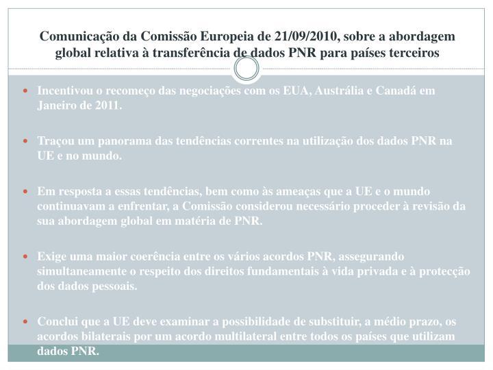 Comunicação da Comissão Europeia de 21/09/2010, sobre a abordagem global relativa à transferência de dados PNR para países terceiros