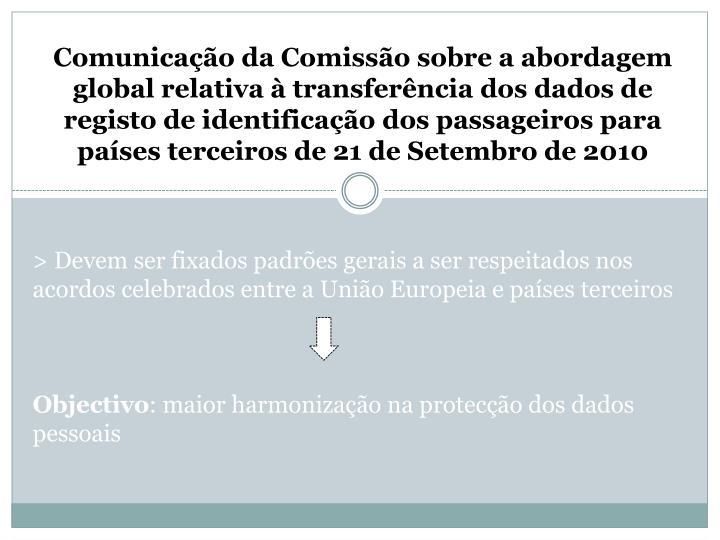 Comunicação da Comissão sobre a abordagem global relativa à transferência dos dados de registo de identificação dos passageiros para países terceiros de 21 de