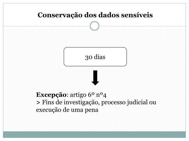 Conservação dos dados sensíveis