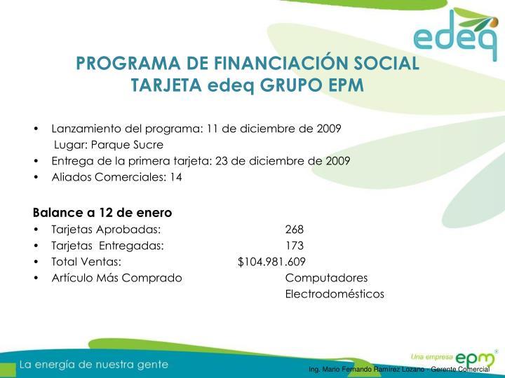 PROGRAMA DE FINANCIACIÓN SOCIAL