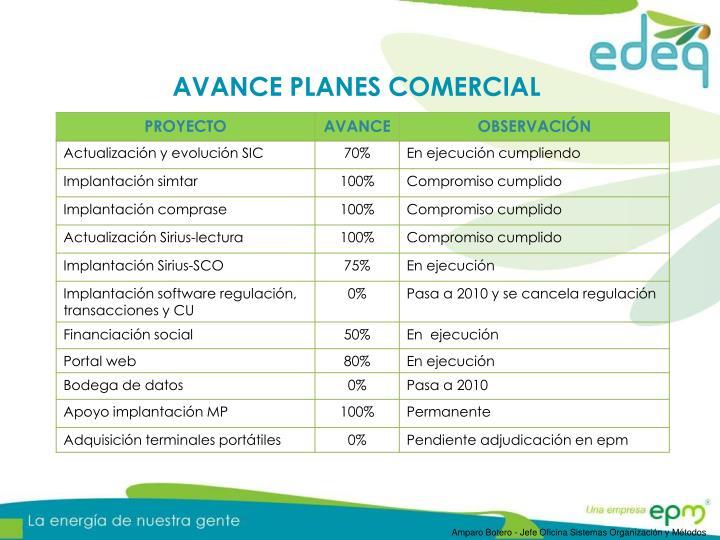 AVANCE PLANES COMERCIAL