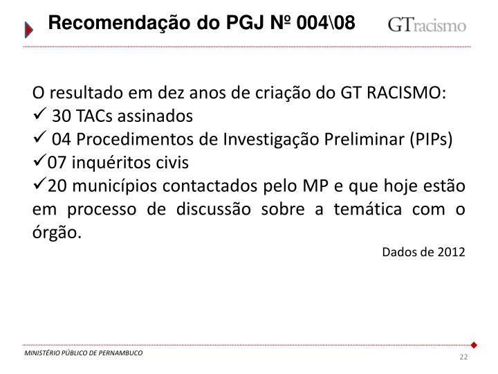 Recomendação do PGJ Nº 004\08
