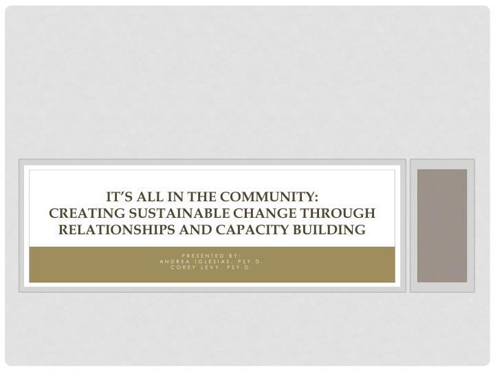 it s all in the community creating sustainable change through relationships and capacity building n.