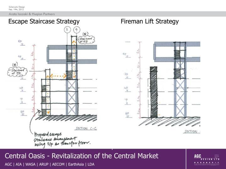 Escape Staircase Strategy                     Fireman Lift Strategy