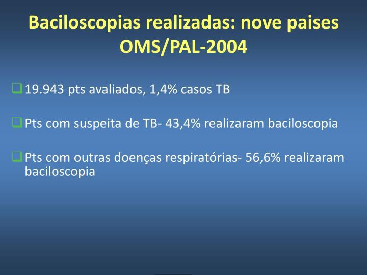 Baciloscopias realizadas: nove paises OMS/PAL-2004