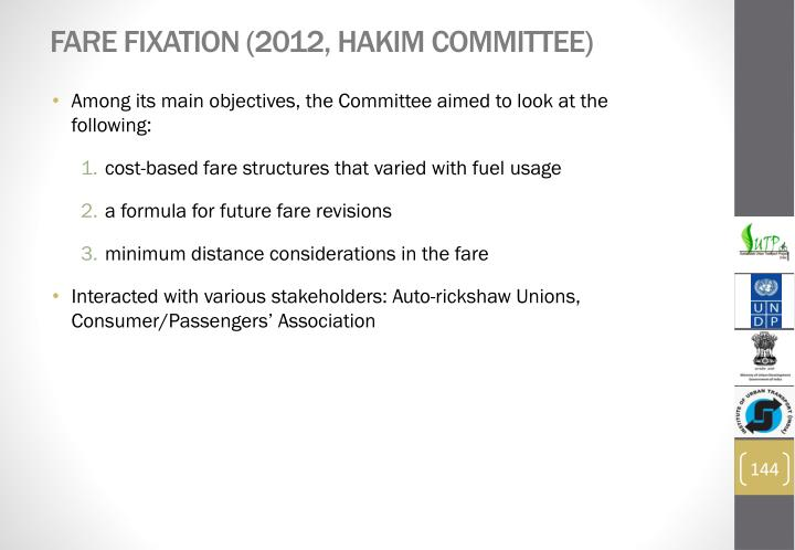 Fare Fixation (2012, Hakim Committee)