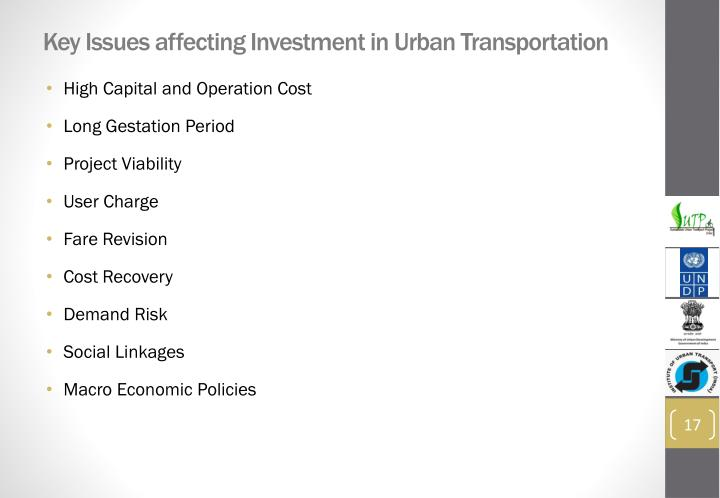 Key Issues affecting Investment in Urban Transportation