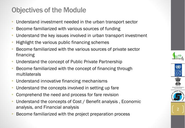 Objectives of the module