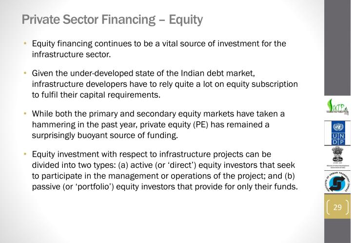 Private Sector Financing – Equity