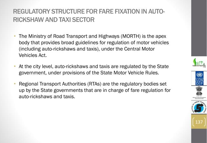 Regulatory structure for fare fixation in auto-rickshaw and taxi sector