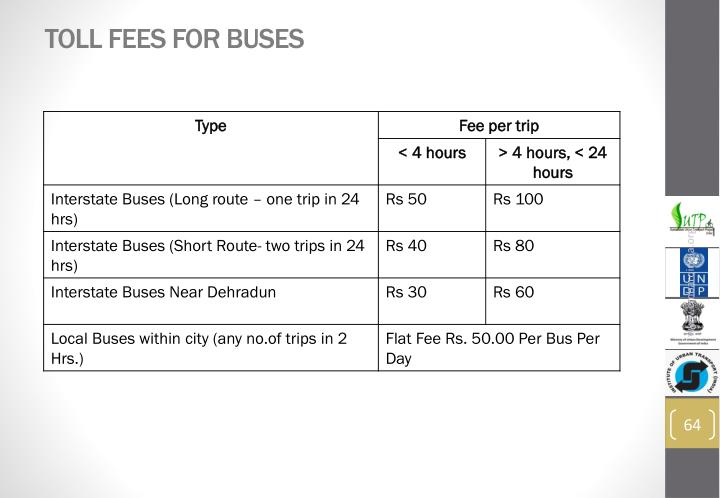 Toll Fees for buses