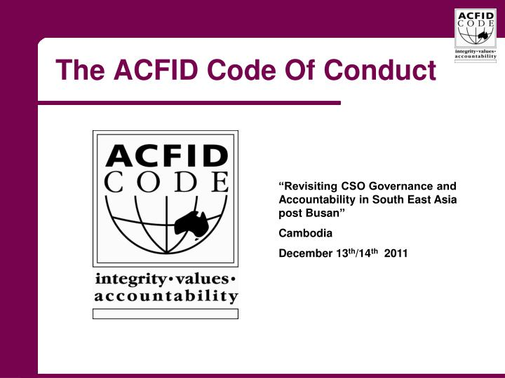 the acfid code of conduct n.