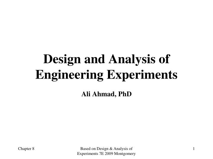 design and analysis of engineering experiments n.