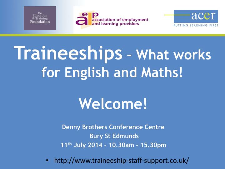 traineeships what works for english and maths n.