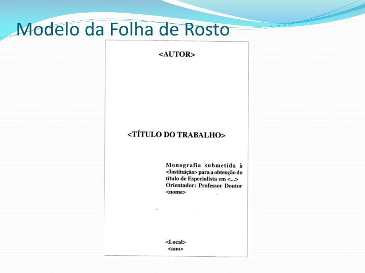 Modelo da Folha de Rosto