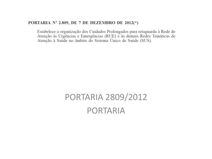 PORTARIA 2809/2012