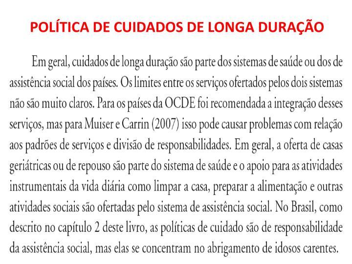 POLÍTICA DE CUIDADOS DE LONGA DURAÇÃO