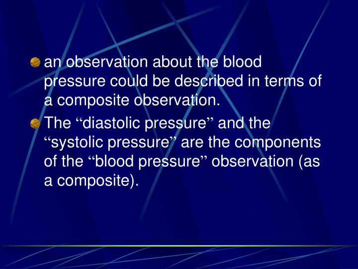 an observation about the blood pressure could be described in terms of a composite observation.