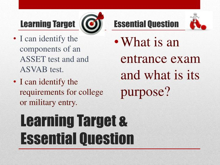 Learning target essential question