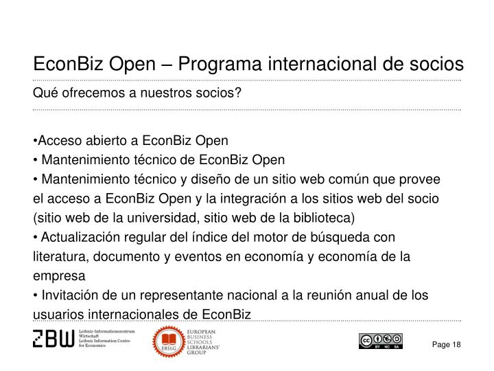 EconBiz Open – Programa internacional de socios