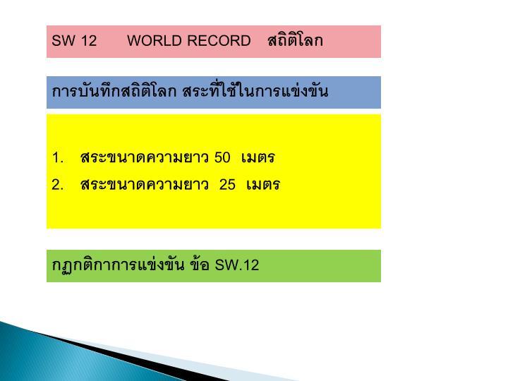 SW 12      WORLD RECORD
