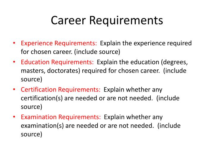 Career Requirements