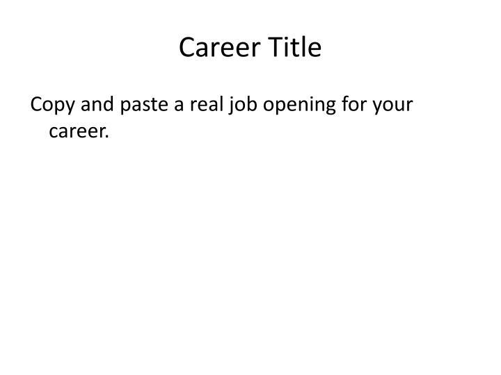 Career Title