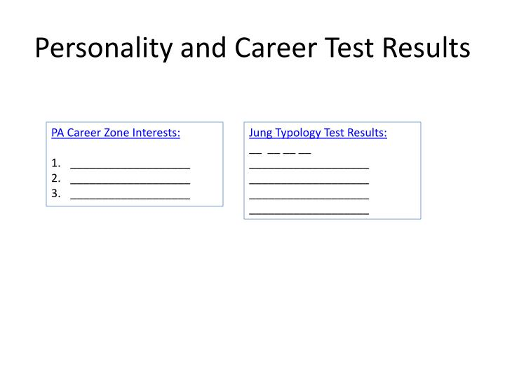 Personality and career test results