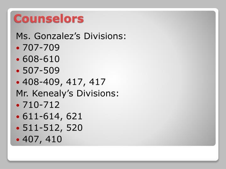 Ms. Gonzalez's Divisions: