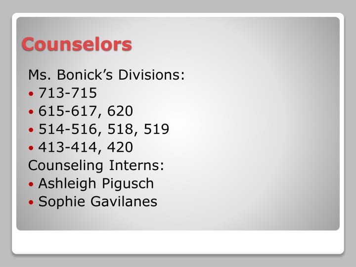 Ms. Bonick's Divisions: