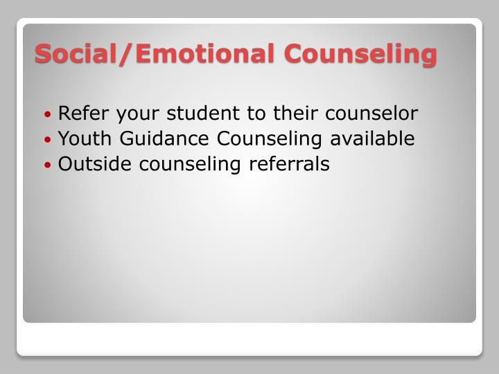 Refer your student to their counselor