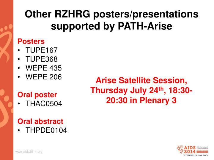 Other RZHRG posters/presentations supported by PATH-Arise